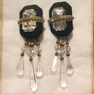 Vintage Pami Jerod Crystal Clip On Earrings